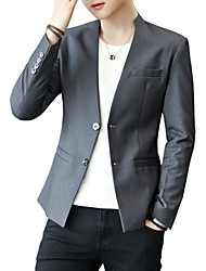cheap -Men's Blazer-Solid Colored Stand / Please choose one size larger according to your normal size. / Long Sleeve