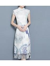 abordables -Femme Basique Manche Gigot Courte Robe - Imprimé, Géométrique Mao Mi-long