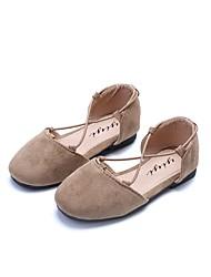 baratos -Para Meninas Sapatos Couro Ecológico Couro Verão Conforto Sandálias Velcro para Casual Social Preto Amarelo Verde Tropa Rosa claro