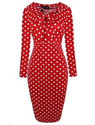 preiswerte -Damen Baumwolle Bodycon Kleid - Schleife, Punkt Knielang Rot