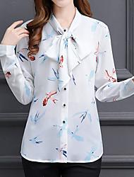 Недорогие -Жен. Деловые Уличный стиль Блуза - Цветочный принт, С принтом Круглый вырез