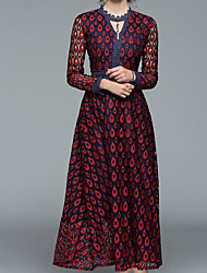 preiswerte -Damen Retro Grundlegend Hülle Kleid Blumen Midi V-Ausschnitt