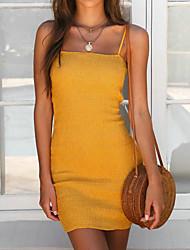 abordables -Femme Mince Moulante Gaine Robe - Basique, Couleur unie A Bretelles