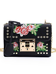 cheap -Women's Bags PU Shoulder Bag Embroidery for Event/Party All Seasons White Black Blushing Pink