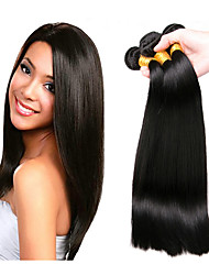 cheap -Brazilian Hair Straight Natural Color Hair Weaves 4 Bundles 8-28inch Human Hair Weaves Natural Black