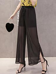 cheap -Women's Boho Loose Wide Leg Pants - Solid Floral, Split High Rise