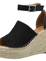 cheap -Women's Shoes Suede Summer Basic Pump Sandals Wedge Heel Peep Toe Buckle Black / Brown / Almond / Wedge Heels