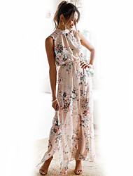 abordables -Mujer Sensual Boho Corte Swing Vestido - Estampado, Floral Maxi