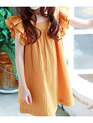 abordables -Robe Fille de Quotidien Couleur Pleine Coton Eté Sans Manches simple Actif Orange