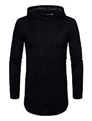 cheap -Men's Street chic Cotton Slim T-shirt - Solid Colored Hooded / Long Sleeve