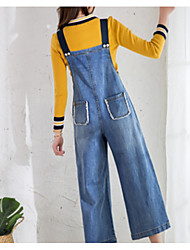 cheap -Women's Simple Overalls Jeans Pants - Solid Colored