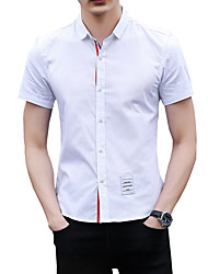 cheap -Men's Basic Street chic Cotton Slim Shirt - Solid Colored, Print