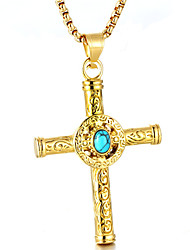 cheap -Men's Turquoise Pendant Necklace - Cross Fashion Gold, Silver Necklace For Daily, Street