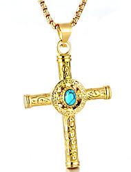 Недорогие -Муж. Бирюза Ожерелья с подвесками - Крест Мода Cool Золотой, Серебряный Ожерелье Бижутерия Назначение Повседневные, Для улицы