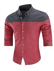 muške poslovne plus veličine pamučne poliesterske košulje - košuljica s blokom ovratnikom