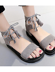 cheap -Women's Shoes Nubuck leather Spring / Fall Comfort Sandals Flat Heel Black / Gray / Lace up