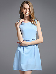 cheap -Women's Slim Sheath Dress - Solid Colored Bow High Waist