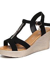 preiswerte -Damen Schuhe Beflockung Sommer Fersenriemen Sandalen Keilabsatz Peep Toe Strass Schwarz / Orange / Dunkelgrün / Keilabsätze