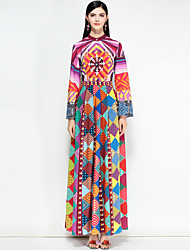 cheap -Women's Street chic Swing Dress - Floral / Color Block Maxi