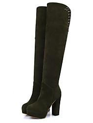 povoljno -Žene Cipele Nubuk koža Jesen Zima Modne čizme Čizme Platformske cipele Čizme preko koljena za Kauzalni Crn Vojska Green Tamno smeđa