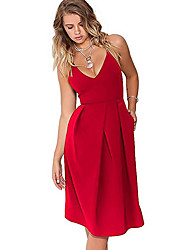 cheap -Women's Going out Street chic / Sophisticated Cotton Slim Sheath Dress - Solid Colored Pleated Strap / Off Shoulder / Summer