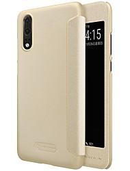 Недорогие -Кейс для Назначение Huawei P20 Pro P20 с окошком Флип Матовое Авто Режим сна / Пробуждение Чехол Однотонный Твердый Кожа PU для Huawei