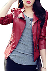 cheap -Women's Basic Street chic Leather Jacket-Solid Colored
