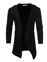 cheap -Men's Street chic Long Sleeve Slim Long Cardigan - Solid Colored Hooded