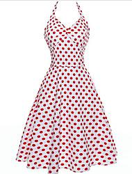 Недорогие -Жен. На выход Тонкие С летящей юбкой Платье - Однотонный V-образный вырез / На бретелях До колена