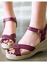 preiswerte -Damen Schuhe PU Sommer Komfort / Pumps Sandalen Keilabsatz Weiß / Purpur / Blau / Keilabsätze