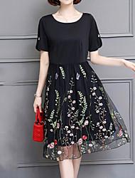 povoljno -Žene Jednostavan Ulični šik A kroj Little Black Haljina - Perlice Vezeno Kolaž, Jednobojni Do koljena