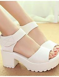 preiswerte -Damen Schuhe PU Sommer Pumps Komfort Sandalen Blockabsatz für Weiß Schwarz