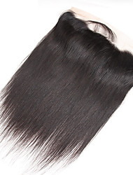 cheap -Guanyuwigs Brazilian Hair 4x13 Closure Straight Free Part / Middle Part / 3 Part Swiss Lace Human Hair Women's With Baby Hair / Soft / Silky Party Evening / Dailywear / Daily Wear