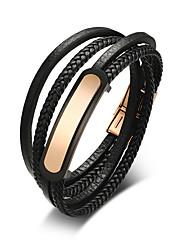 Недорогие -Муж. Wrap Браслеты Кожаные браслеты - Кожа Мода Браслеты Черный Назначение Повседневные На выход