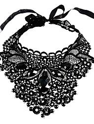 preiswerte -Damen überdimensional Spitze Kragen  -  überdimensional Irregulär Schwarz 60cm Modische Halsketten Für Party