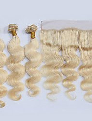 cheap -4 Bundles Brazilian Hair Wavy Virgin Human Hair Ombre Hair Weaves / One Pack Solution / Human Hair Extensions Human Hair Weaves Soft / Silky / Hot Sale Blonde Human Hair Extensions Women's