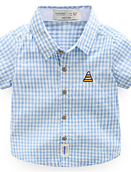 cheap -Boys' Daily Holiday Plaid Shirt, Cotton Polyester Summer Short Sleeves Active Green Orange Navy Blue Light Blue