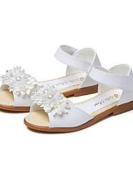 billiga -Flickor Skor Konstläder Sommar / Höst Komfort Sandaler Imitationspärla / Krok och ögla för Barn Vit / Rosa