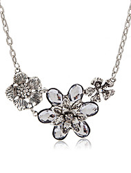 cheap -Women's Floral Flower Cubic Zirconia Zircon Statement Necklace  -  Floral Rock Silver 40cm Necklace For Party Bar