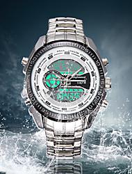 baratos -SHIFENMEI Homens Relógio Esportivo / Relógio de Moda / Único Criativo relógio Japanês Calendário / Impermeável / Luminoso Aço Inoxidável Banda Luxo Prata / Cronômetro / Mostrador Grande