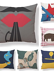 cheap -6 pcs Textile Cotton / Linen Pillow case Pillow Cover, Special Design Printing Fashion Artistic Style High Quality