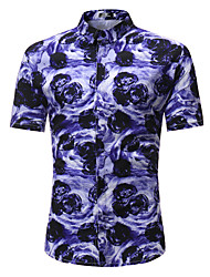 cheap -Men's Beach Street chic Boho Plus Size Cotton Shirt - Floral Color Block, Print