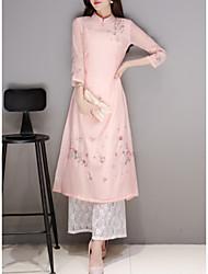 baratos -Mulheres Moda de Rua Delgado Bainha Vestido Floral Colarinho Chinês Cintura Alta Longo