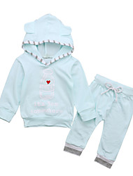 cheap -Unisex Daily Holiday Solid Colored Print Clothing Set, Cotton Acrylic Spring Summer Long Sleeves Cute Active Light Blue