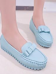 abordables -Femme Chaussures Polyuréthane Printemps Automne Confort Mocassins et Chaussons+D6148 Talon Plat Bout rond pour Blanc Noir Bleu