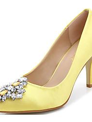 preiswerte -Damen Schuhe Stoff Frühling Herbst Pumps Komfort High Heels Stöckelabsatz für Schwarz Gelb Rot