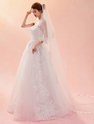 cheap -One-tier Veil Lace Wedding Veil Chapel Veils Cathedral Veils 53 Embroidery Lace Tulle