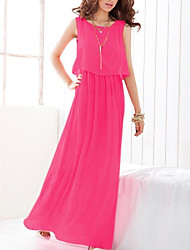 baratos -Mulheres Moda de Rua balanço Vestido Sólido Longo