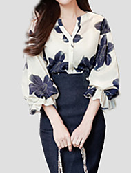 cheap -Women's Holiday Street chic Lantern Sleeve Shirt - Floral Print V Neck / Summer / Floral Patterns