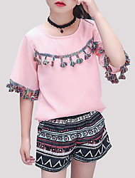 cheap -Girls' Daily Going out Print Clothing Set, Polyester Summer Short Sleeves Active White Blushing Pink